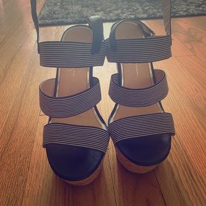 Jessica Simpson Blue and White Wedges